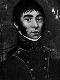 Хосе де Сан- Мартин в мундире полковника конных гренадер. Миниатюра 1812 г. Подписана B.L.C.